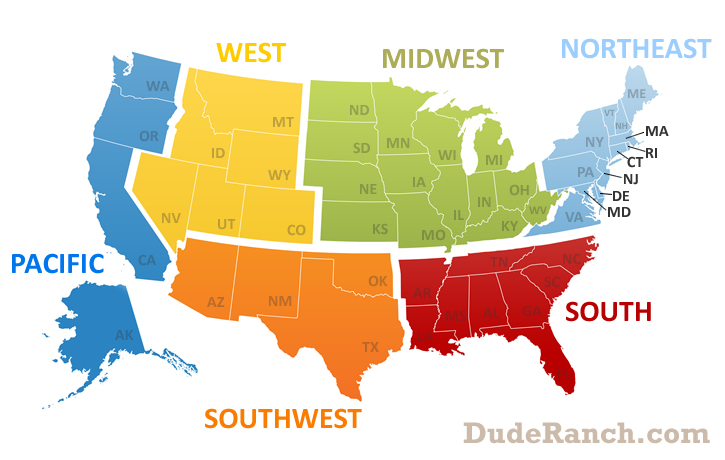 Region Northeast Info Pics Maps More Dude Ranchcom - Northeast region us map