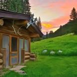 lone-mountain-ranch-cabin-sunset